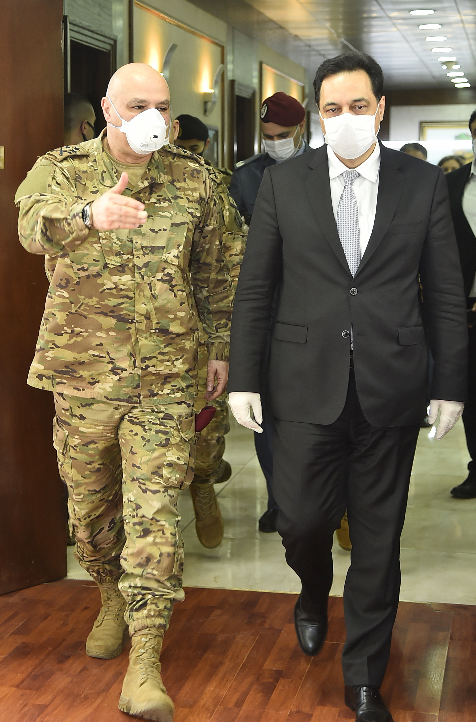 Pr Minister Hassan Diab at the Ministry of Defence 4