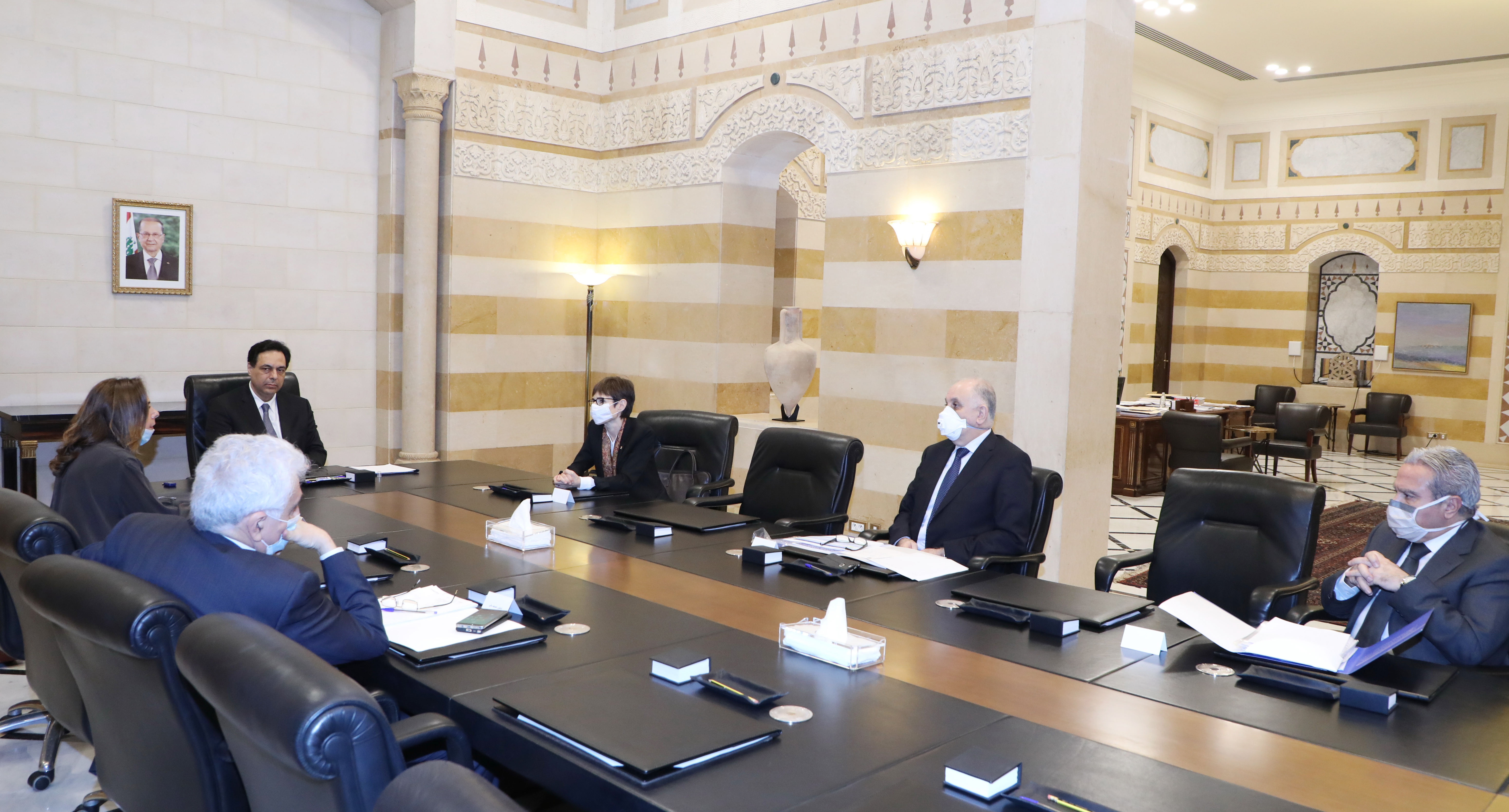 Pr Minister Hassan Diab meets Mrs Mirielle Gerrad with a Delegation 1
