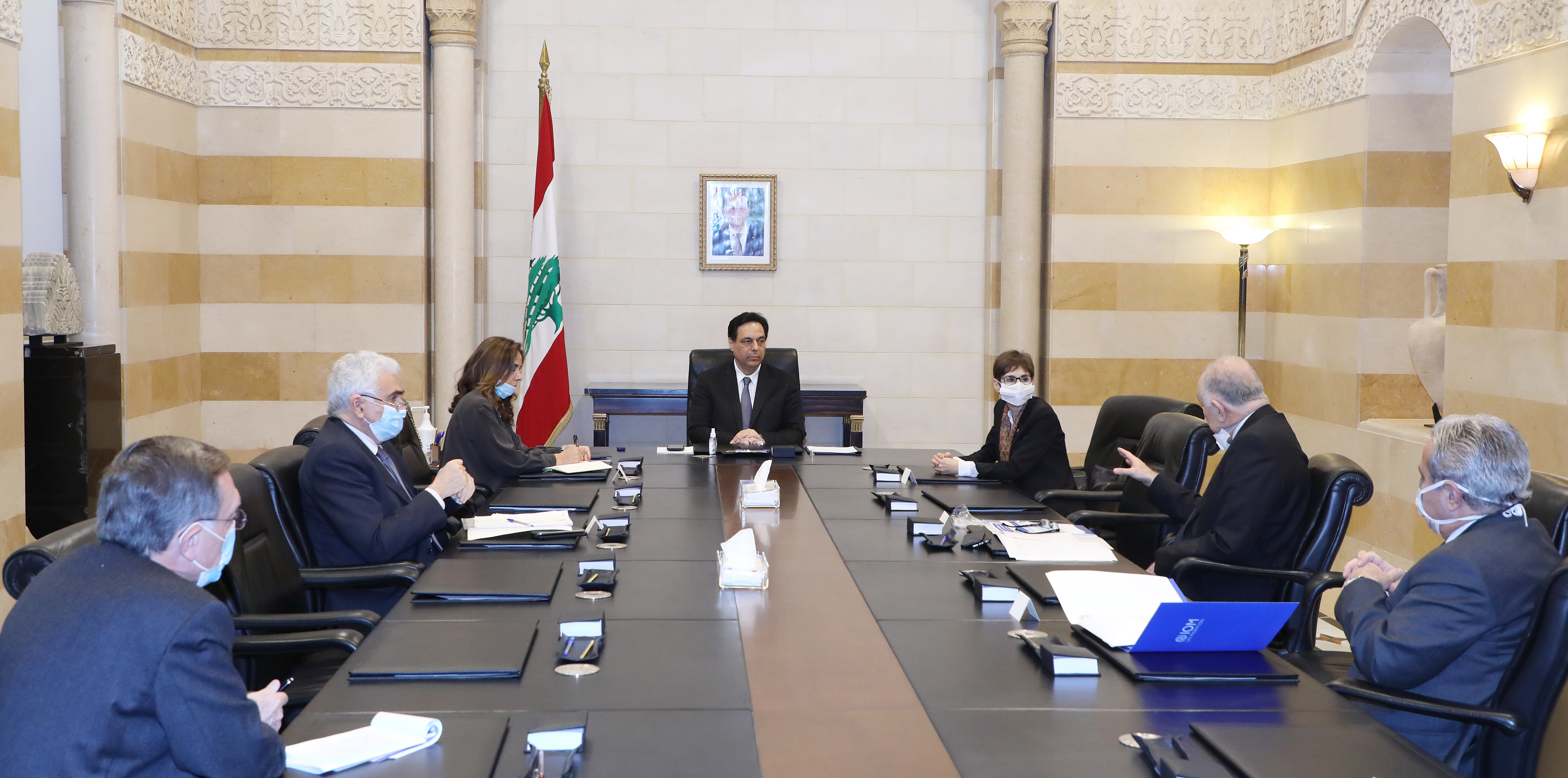Pr Minister Hassan Diab meets Mrs Mirielle Gerrad with a Delegation