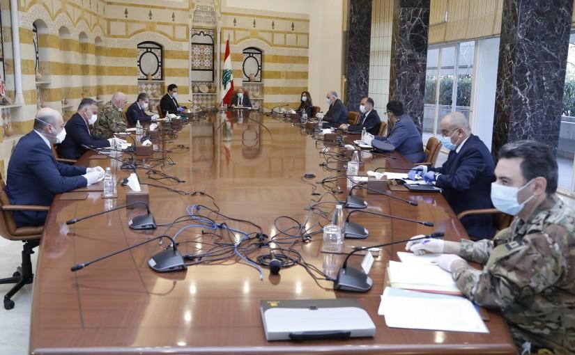 President Michel Aoun Heading a Security Meeting