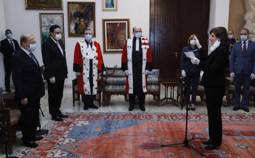 Mrs Jacqueline Yaacoub Boutros Swears Before President Michel Aoun & Pr Minister Hassan Diab