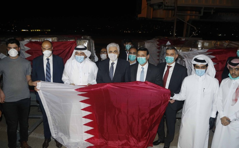 Minister Hassan Diab Receiving Qatar Aid