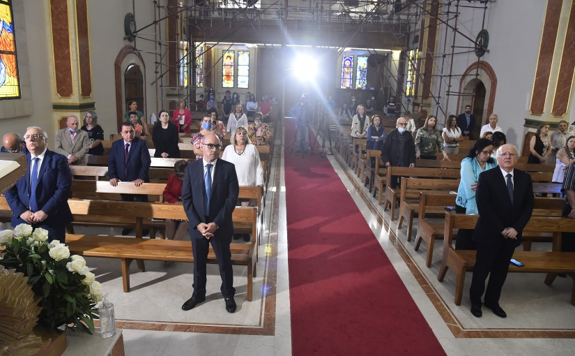 Head of National News Agency Mr Ziad Harfouch Attends a mass at Notre Dame des Don Adma