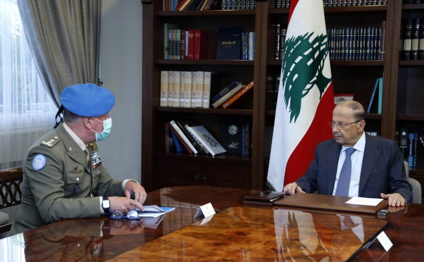 President Michel Aoun Meets Head of Mission and Force Commander of the United Nations Interim Force in Lebanon Major General Stefano Del Col