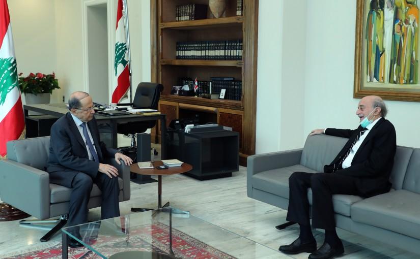 President Michel Aoun Meets Head of The Progressive Socialist Party Walid Jumblat