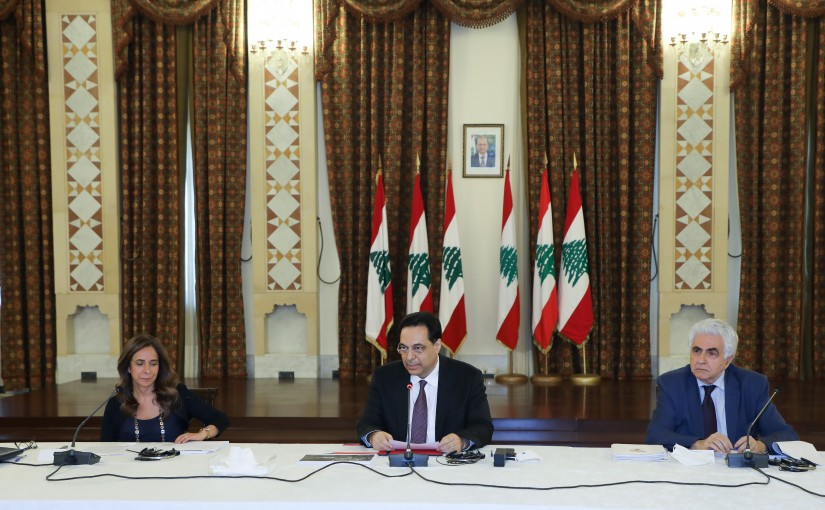 Pr Minister Hassan Diab Heading a Meeting for Cedre