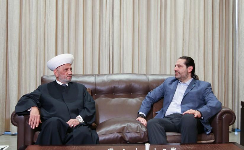 Former Pr Minister Saad Hariri meets Mufti Abdel Latif Derian