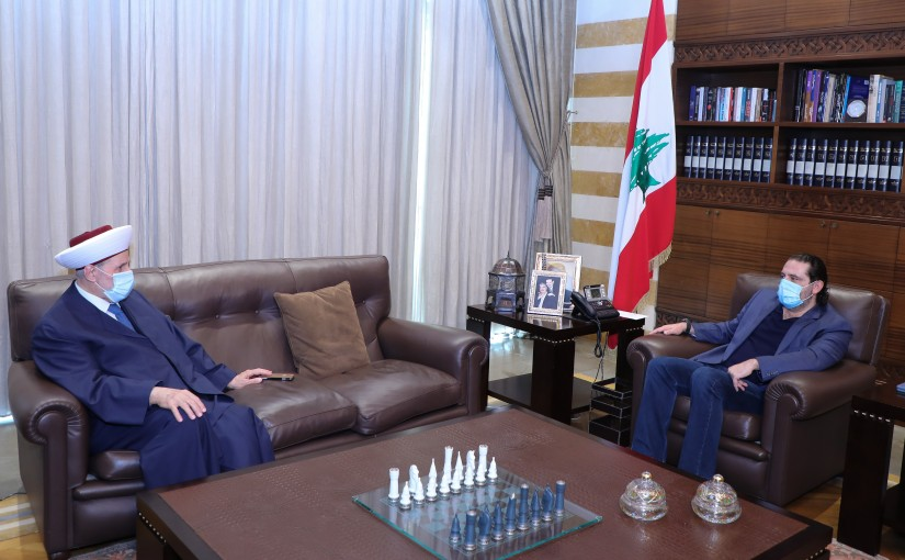 Former Pr Minister Saad Hariri meets Mufti Maleck Shaare