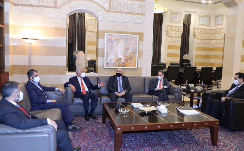 Pr Minister Hassan Diab meets Minister Raoul Nehmeh with a Delegation