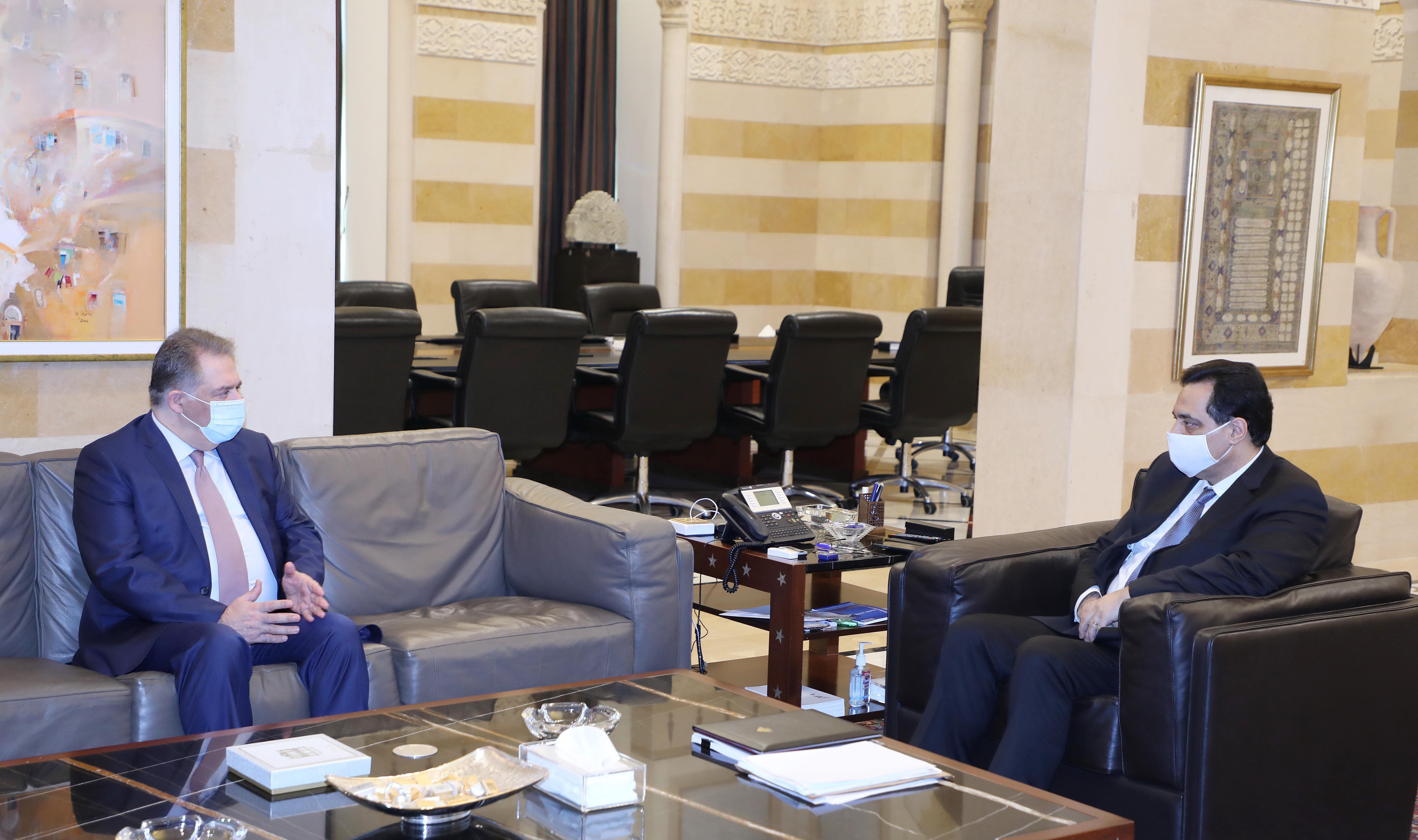 Pr Minister Hassan Diab meets Palestinian Ambassador