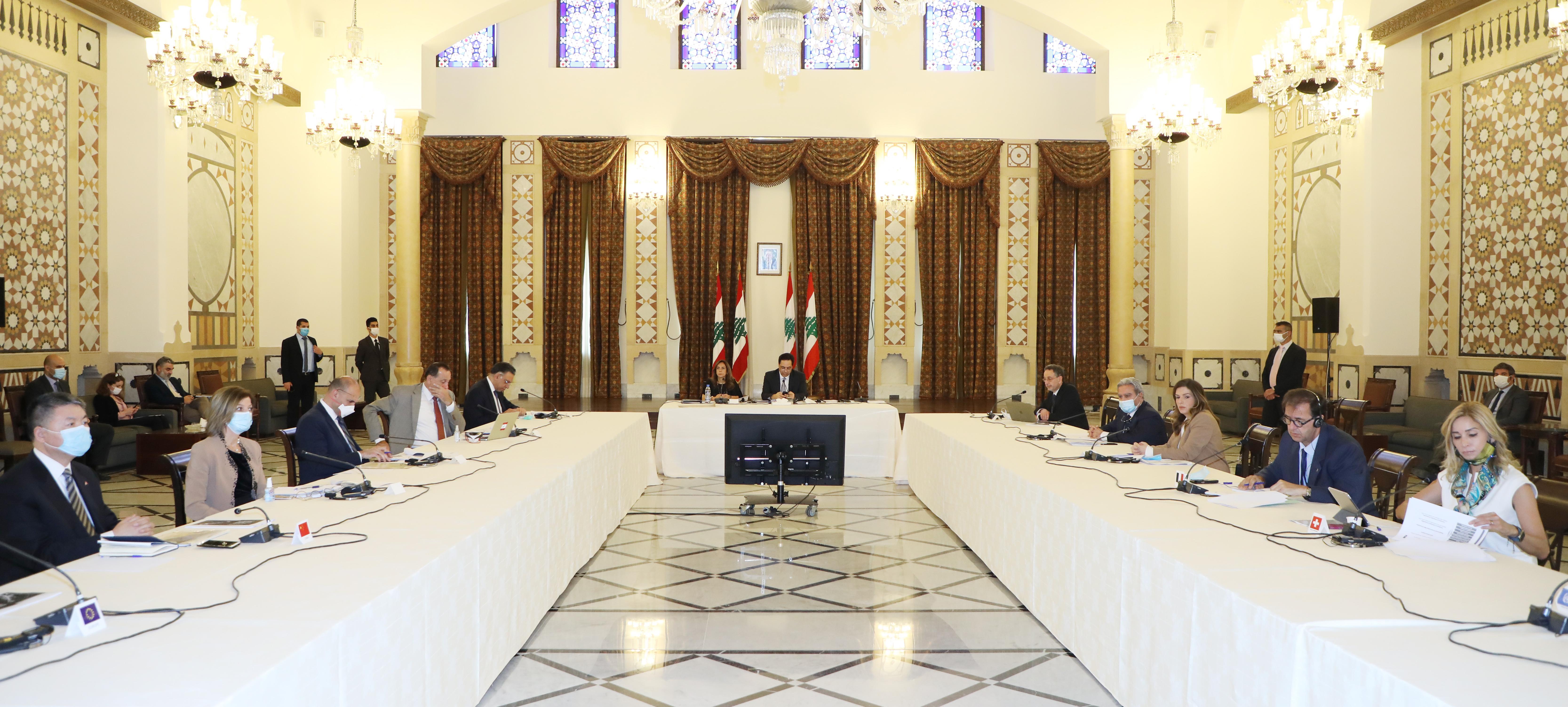 Pr Minister Hassan Diab meets a Delegation form Ambassadors 1
