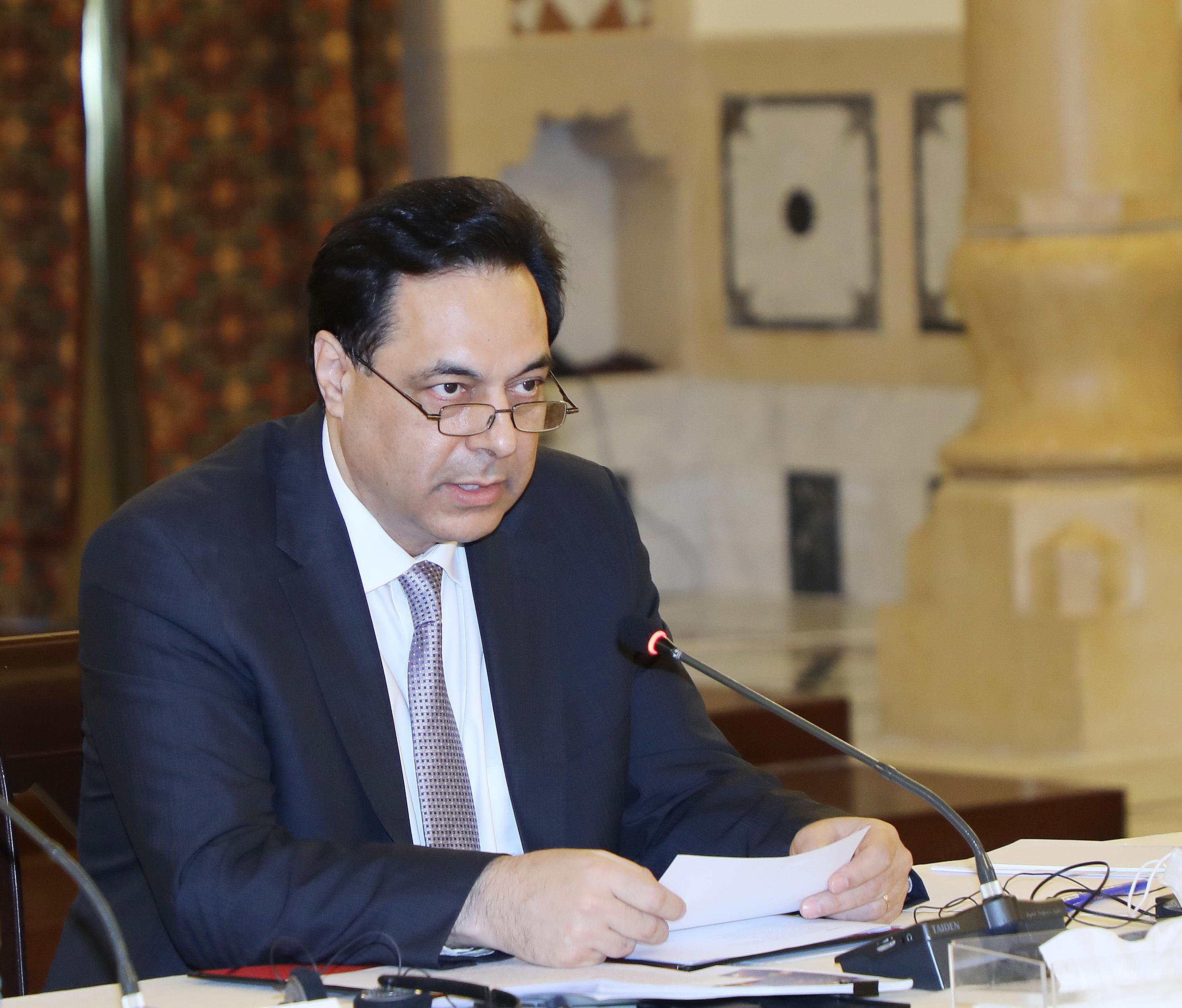 Pr Minister Hassan Diab meets a Delegation form Ambassadors 2