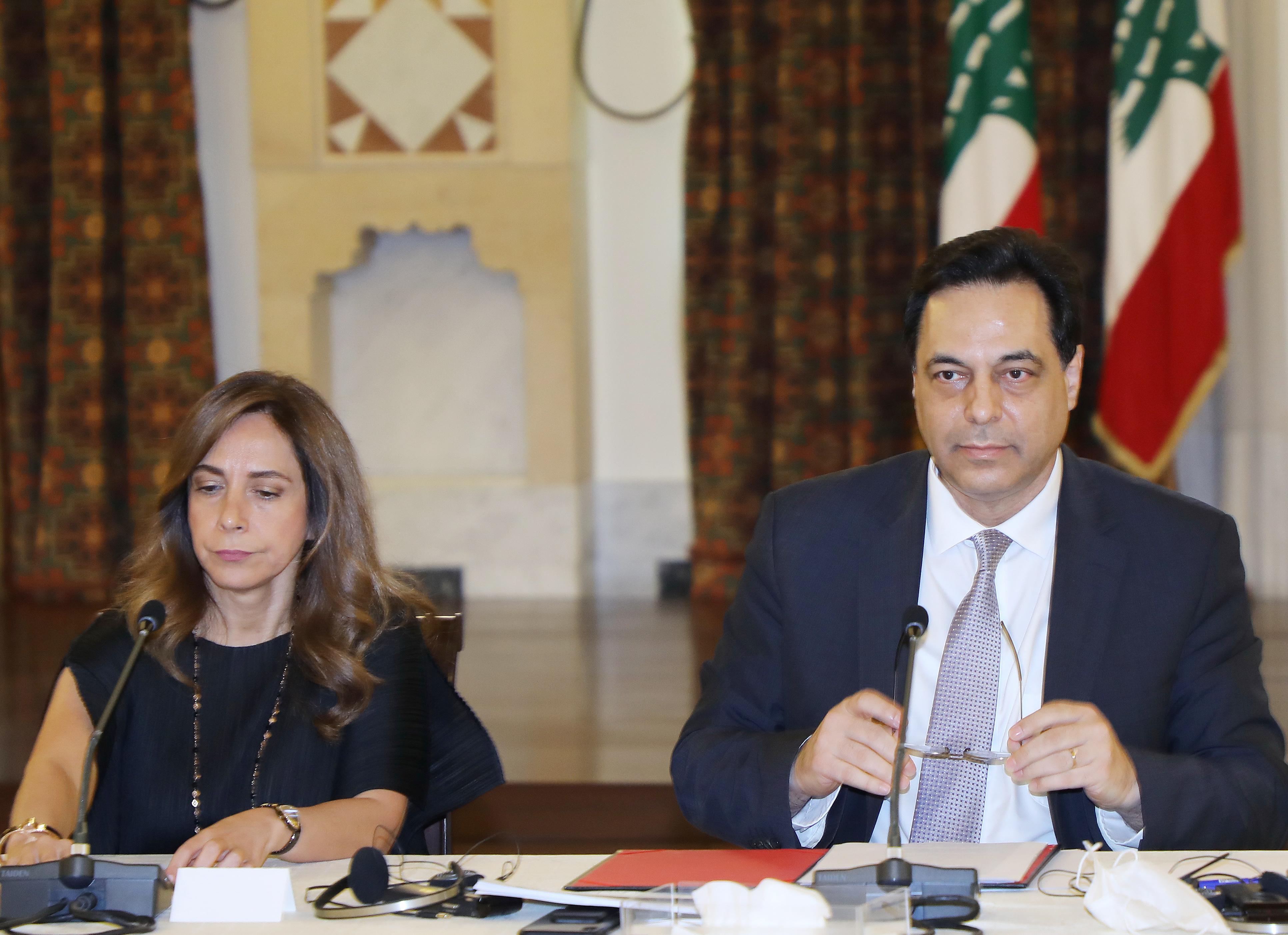 Pr Minister Hassan Diab meets a Delegation form Ambassadors 3