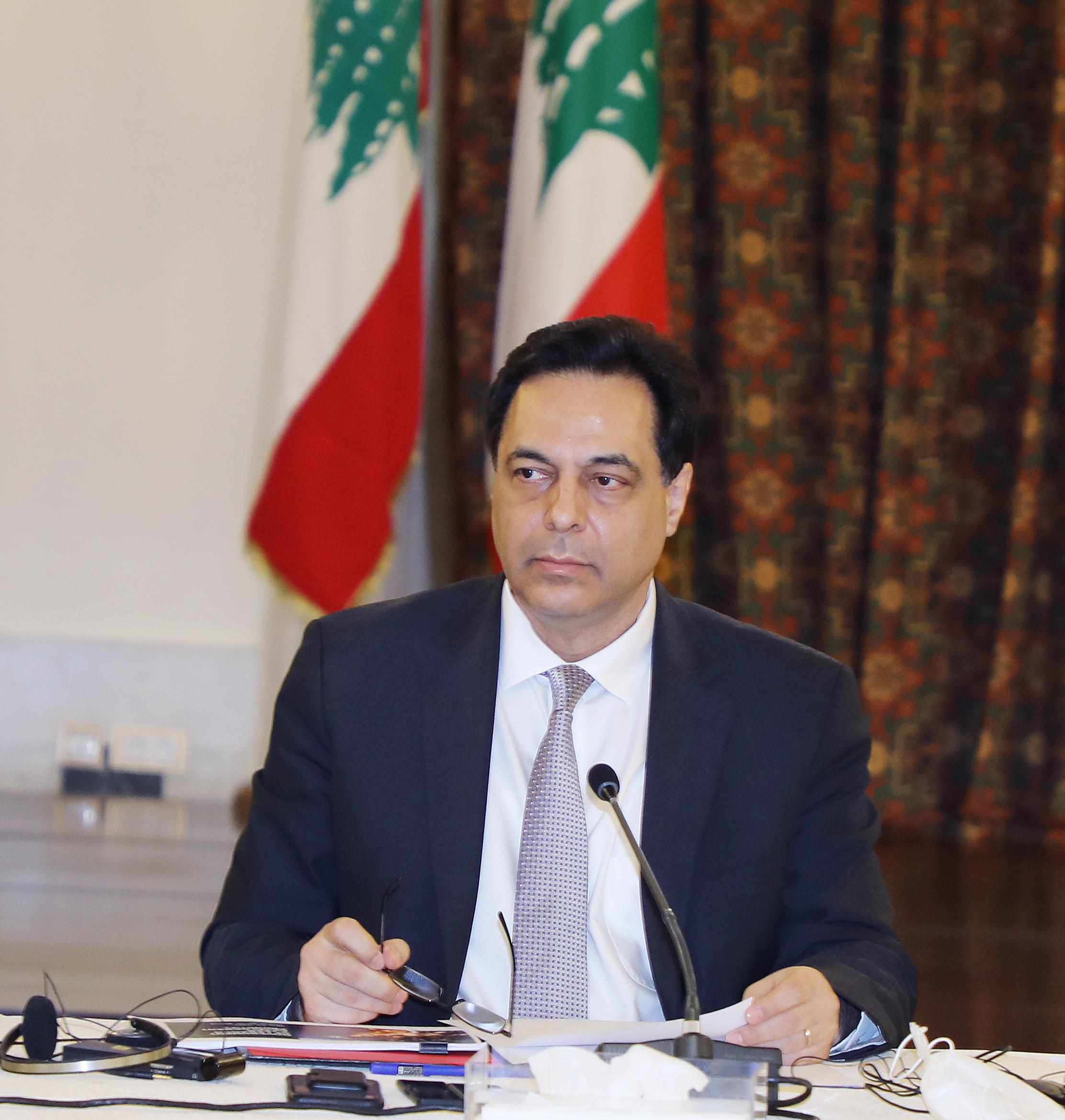 Pr Minister Hassan Diab meets a Delegation form Ambassadors 4