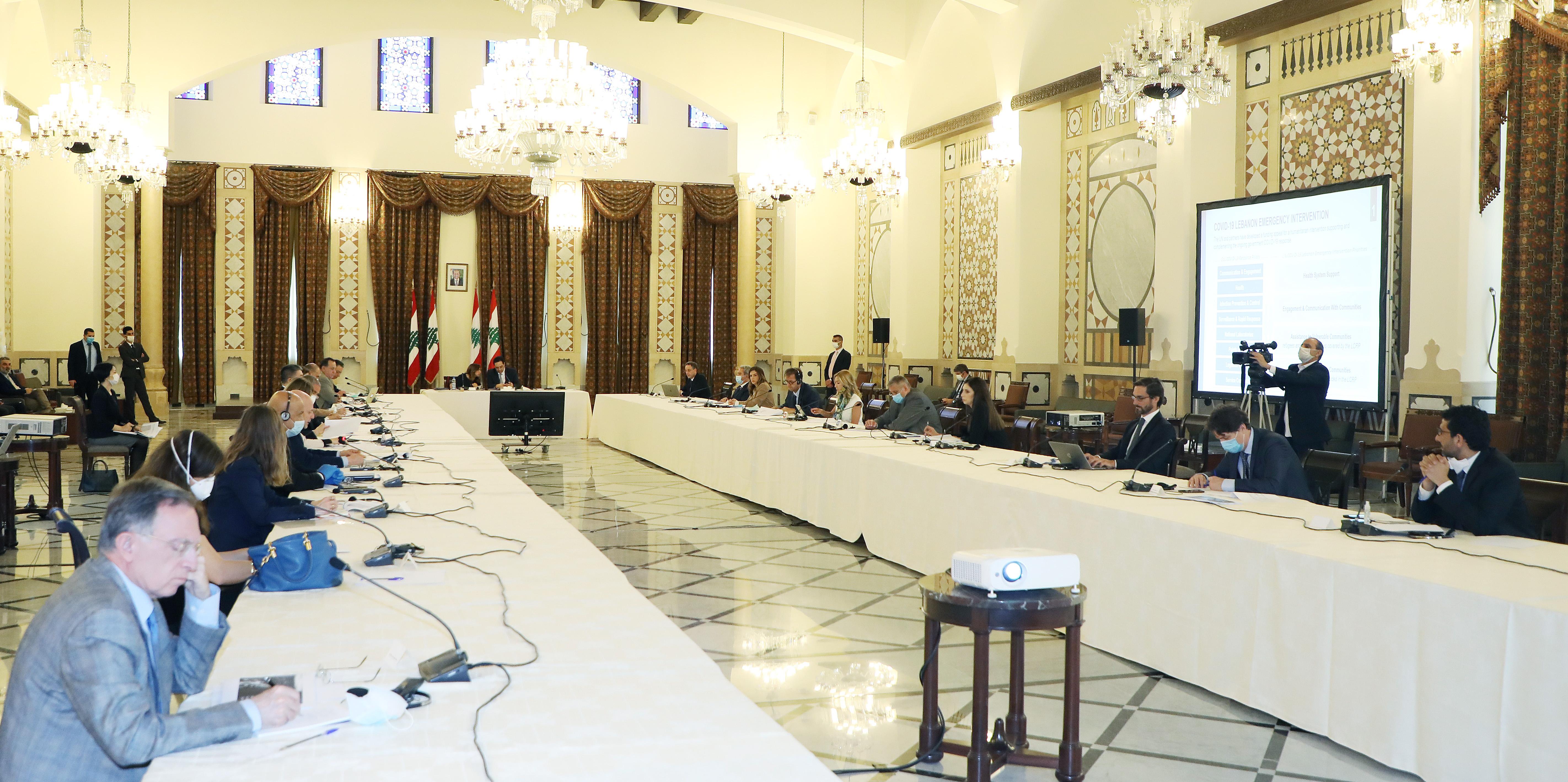 Pr Minister Hassan Diab meets a Delegation form Ambassadors