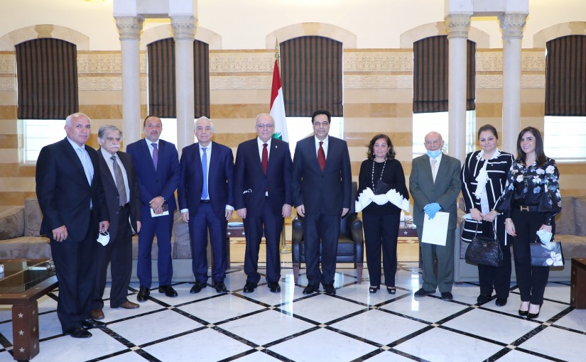 Pr Minister Hassan Diab meets a Delegation from el Makassed