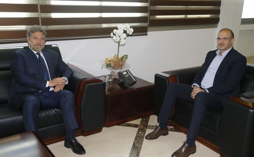 Minister Hassan Hamad meets MP Neamat Frem