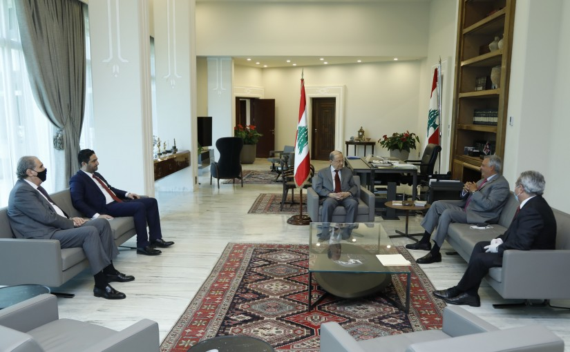 President Michel Aoun Meets  MP Talal Erslan,Minister of Social Affairs Ramzi Mcharafiyeh,Former Minister Saleh Gharib, Former Minister Selim  Jreysati