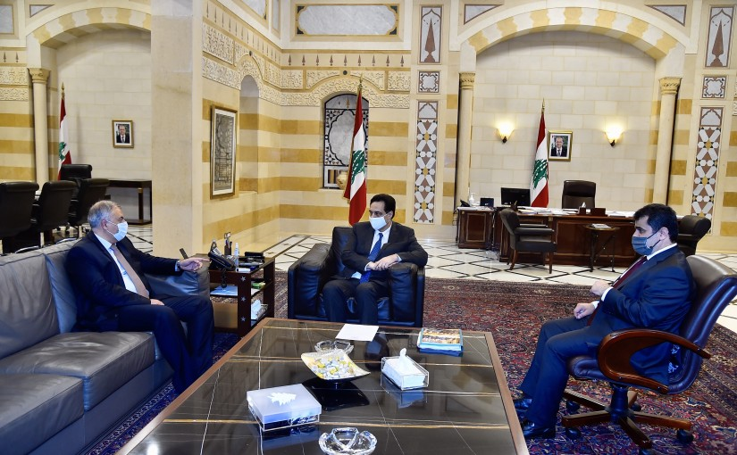Pr Minister Hassan Diab meets Judge Maroun Aboud