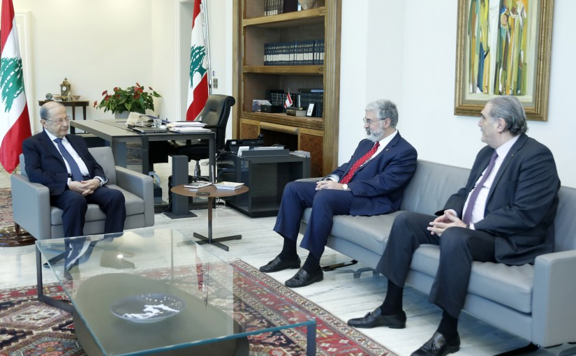 President Michel Aoun Meets Head of the American University Mr Fadlo Khoury and Former Minister Salim Jreysati