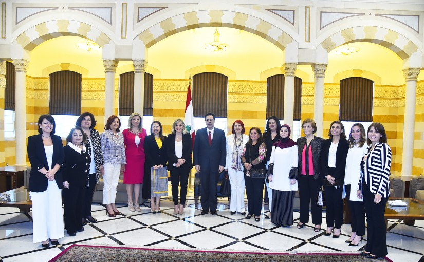 Pr Minister Hassan Diab meets a Delegation from National Commission for Women's Affairs
