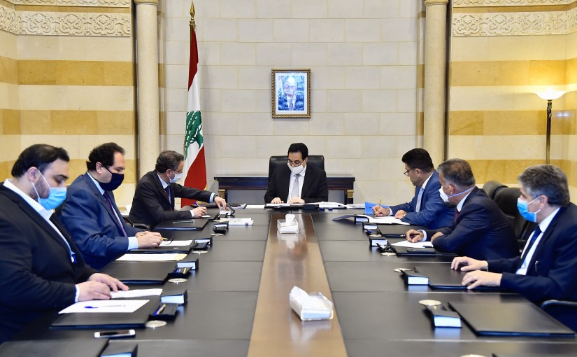 Pr Minister Hassan Diab meets Minister Raoul Nehme With a Delegation