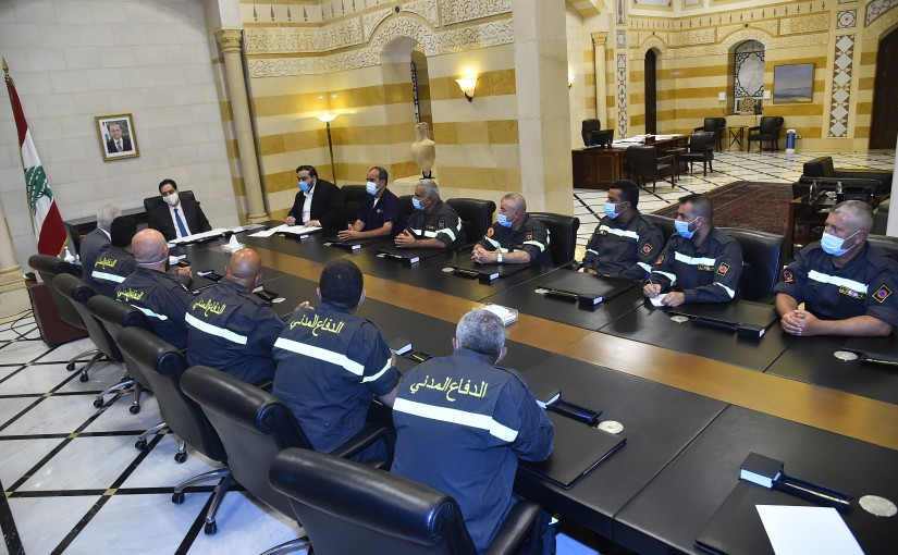 Pr Minister Hassan Diab meets a Delegation from Civil Defense