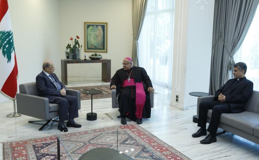 President Michel Aoun Meets Latin Bishop Cezar Assayan & Father Ziad Haddad