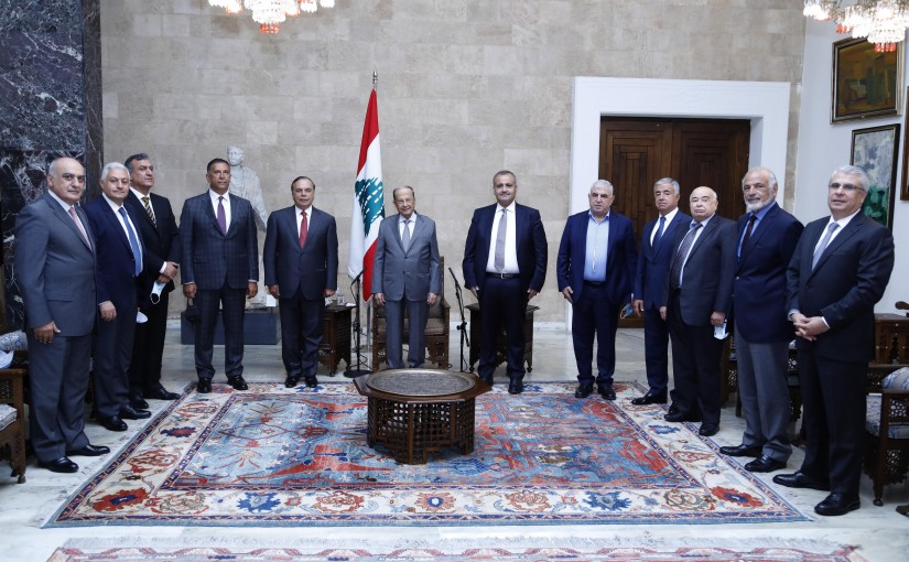 President Michel Aoun Meets a Delegation From Lebanese Contractors Syndicate Headed By Mr Maroun Helo