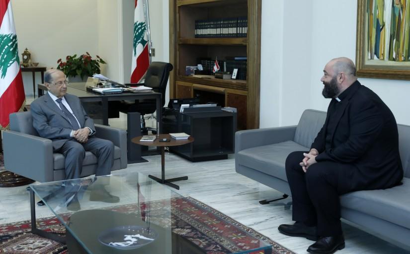 President Michel Aoun Meets NDU University President Father Pierre Najem