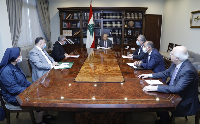 President Michel Aoun Meets Father Boutros Azar with a Delegation