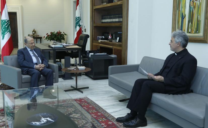 President Michel Aoun Meets Father Charbel Batour Rector of Collège Notre-Dame de Jamhour