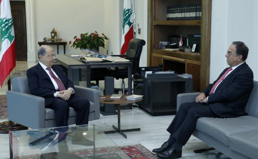 President Michel Aoun Meets Former Minister Mansour Bteich