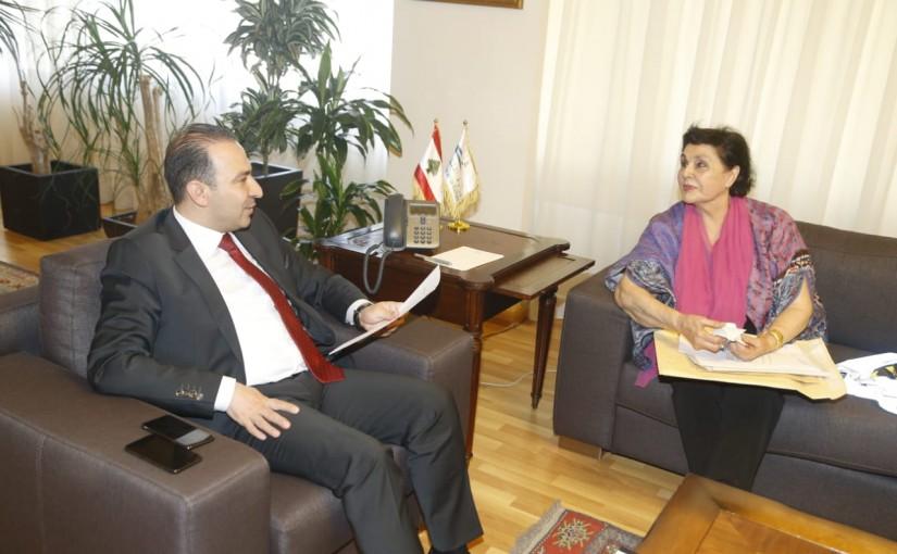 Minister Abass Morthada meets Mrs Nidal el Ashkar