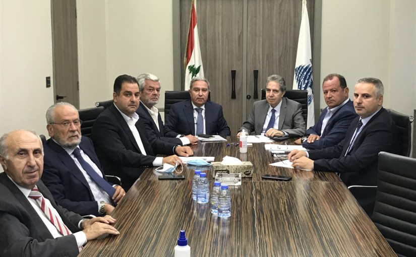 Minister Ghazi Wazni meets a delegation from hotels Syndicate