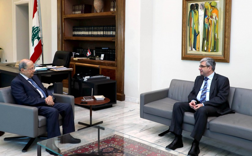President Michel Aoun Meets Minister of Education Tarek Mazjoub