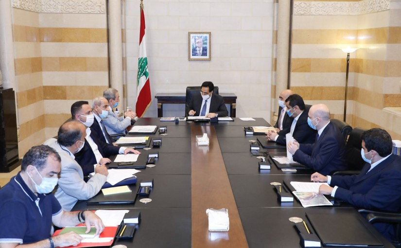 Pr Minister Hassan Diab meets a Delegation from Tripoli Municipality