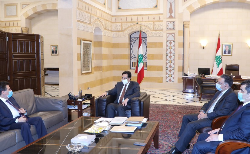 Pr Minister Hassan Diab meets MP Ibrahim Kanaan with a Delegation