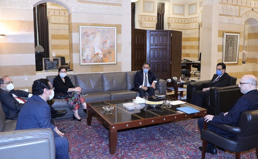 Pr Minister Hassan Diab meets Minister Demyanoss Katar with a Delegation