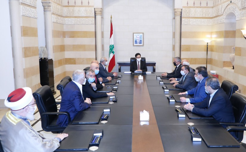 Pr Minister Hassan Diab meets a Delegation from Lebanese Parties