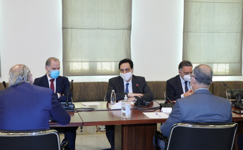 Pr Minister Hassan Diab meets Minister Demyanos Katar with a Delegation