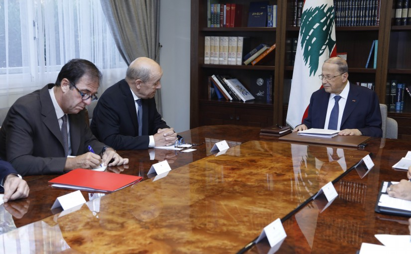 President Michel Aoun Meets French Minister of Europe & Foreign Affairs Jean-Yves Le Drian