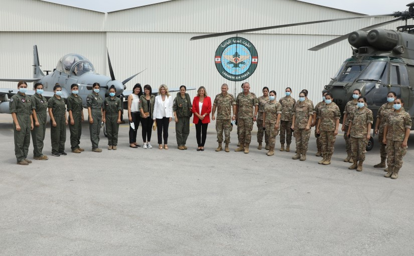President of The National Commission For Lebanese Women  Mrs Claudine Aoun Roukoz Visits Hamat Air Base on The Occasion of The Army Day