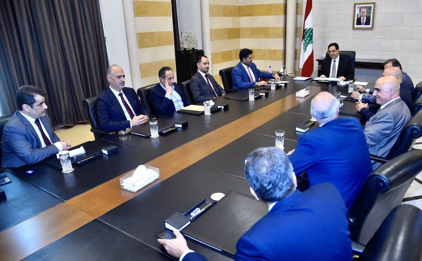 Pr Minister Hassan Diab meets Minister Raymond Ghazar with a Delegation