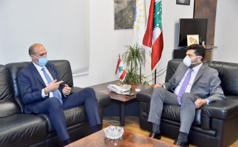 Minister Raymond Ghajar meets Minister Hassan Hamad