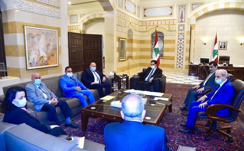 Pr Minister Hassan Diab meets a Delegation from Fayhaa Municipality