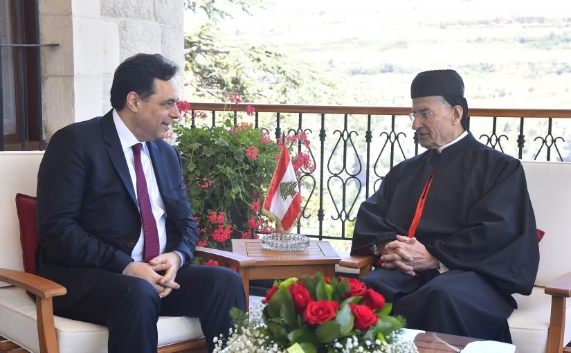 Pr Minister Hassan Diab meets Patriarch Boutros Raii