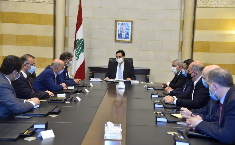 Pr Minister Hassan Diab meets MP Neamat Frem with Delegation