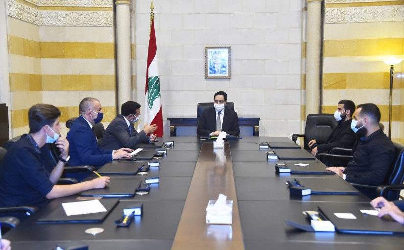 Pr Minister Hassan Diab meets Minister Michel Najjar with a Delegation