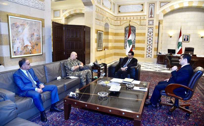 Pr Minister Hassan Diab meets Head of Army Commander Joseph Aoun